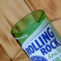 Rolling Rock Candle made from an upcycled beer bottle