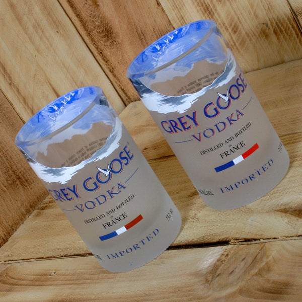 Upcycled Grey Goose Glasses/Tumblers made from repurposed vodka bottles