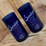 Pair of Upcycled Cobalt Blue Saratoga Spring Water Pint Glasses
