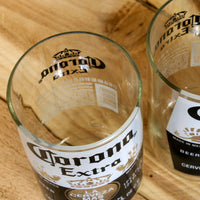 Pair of Upcycled Corona Beer Pint Glasses made from repurposed bottles