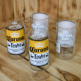 Four Pack Upcycled Corona Light juice glasses made from beer bottles