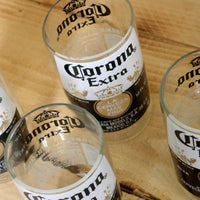 Four Pack Upcycled Corona 8 ounce juice drinking glasses made from repurposed beer bottles