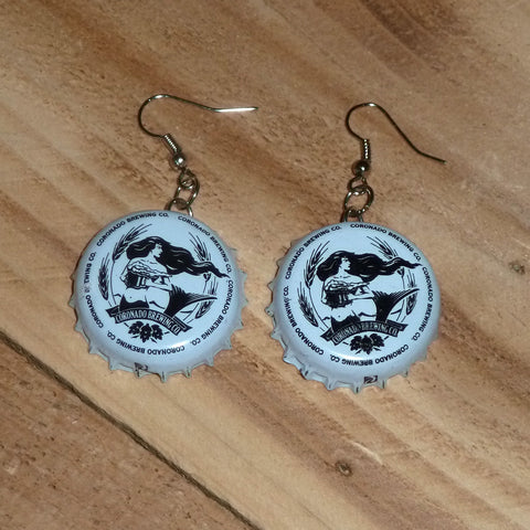 Coronado Brewing Mermaid Upcycled Bottle Cap Earrings