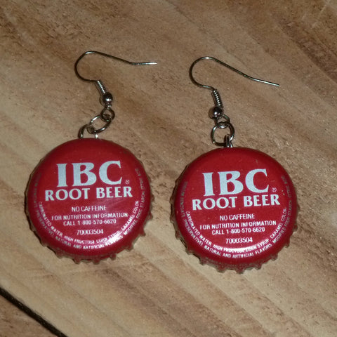 IBC Root Beer Upcycled Bottle Cap Earrings