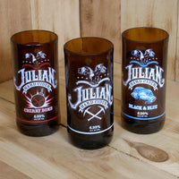 Upcycled Julian Hard Cider Pint Glasses 3 Pack Original, Cherry Bomb, and Black and Blue