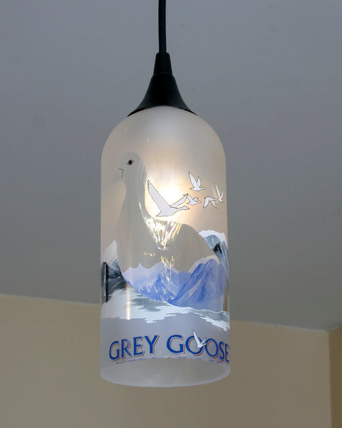 Upcycled Grey Goose Hanging Pendant Lamp made from a vodka bottle