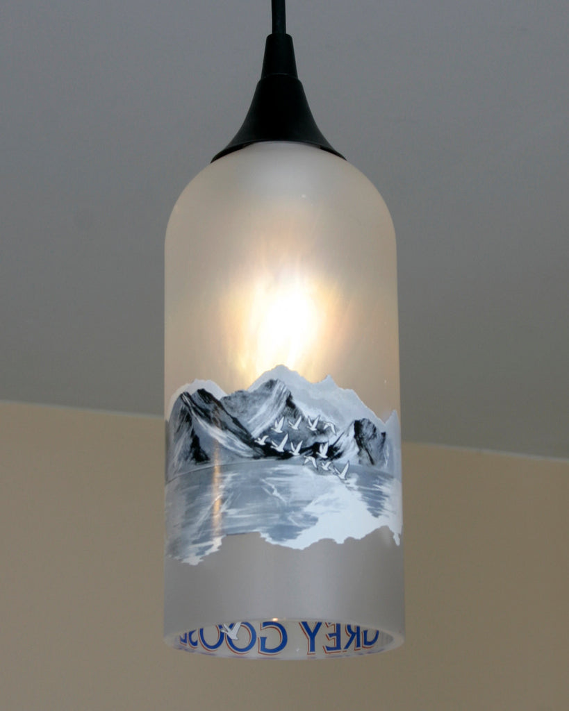Finest Upcycled Grey Goose Hanging Pendant Lamp made from a vodka bottle  DN04