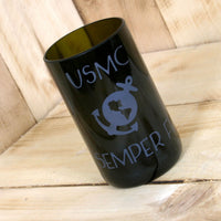 Upcycled Etched USMC Semper Fi glass made from a wine bottle