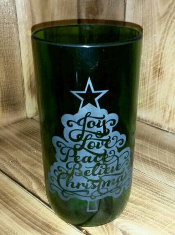 Christmas Tree Etched Vase