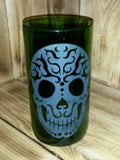 Sugar Skull Upcycled Vase made from a repurposed 1.5L wine bottle