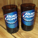 Bud Light  8 ounce glasses made from upcycled beer bottles