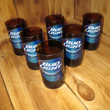 Bud Light Six Pack Upcycled Bottle Glasses