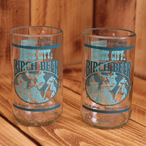 Pair of Upcycled Sioux City Birch Beer Soda Glasses