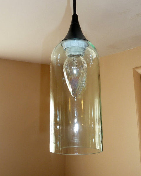 Handcrafted Pale Blue Upcycled Pendant Light made from a repurposed pinot grigio wine bottle