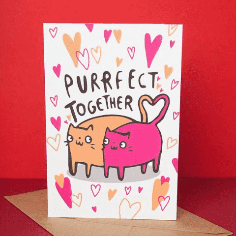 Purrfect Together Funny Anniversary Card Valentines Day Card FREE SHIPPING