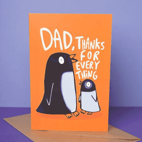 Dad, Thanks For Everything Penguin Funny Fathers Day Card FREE SHIPPING