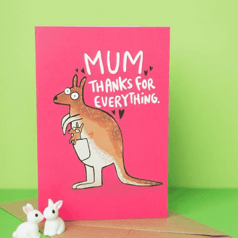 Mum, Thanks For Everything Kangaroo Funny Mothers Day Card Birthday Card FREE SHIPPING
