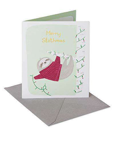 American Greetings Funny Merry Slothmas Christmas Card with Foil, Funny Christmas Cards - Free Shipping
