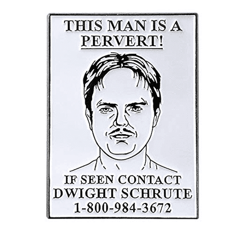 Free Dwight Schrute Pervert Wanted Poster The Office Enamel Pin Just Pay Shipping