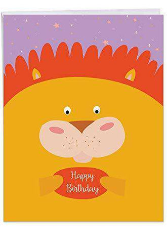 Jumbo Birthday Greeting Card Fur You Featuring A Sweet Cartoon Lion Portrait On Brightly Colored Confetti Background Funny