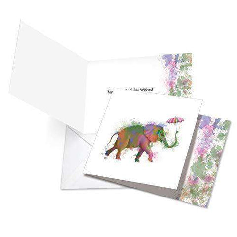 Funky Rainbow Wildlife-Elephant Featuring Hipster-Like Image of Elephant with Colorful Paint Splotches, Funny Birthday Card - Free Shipping