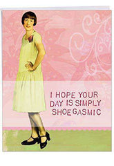 Bodacious Broads Simply Birthday' Jumbo Greeting Card - Vintage Style Pretty Black Shoes Portrait Woman Classic Design Stationery Set for Personalized Funny Birthday Card - Free Shipping