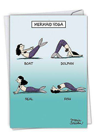Mermaid Yoga - Humorous Birthday Card, with Envelope - Funny birthday card - Free Shipping