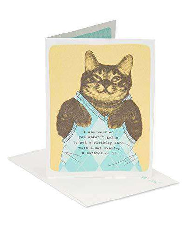 American Greetings Funny Sweater Cat Birthday Card With Flocking