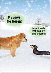 My Paws Are Frozen Card - Funny Merry Christmas Greeting Card - Free Shipping