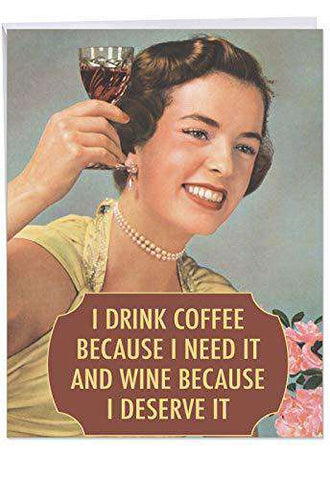 Extra Large Funny Birthday Greeting Card - 'Drink Coffee and Wine- Big  Happy Birthday Wishes From Friends and Family - Funny Birthday Card - Free