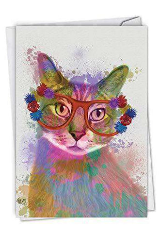 Funky Rainbow Cats Birthday Greeting Card With An Eyeglasses Wearing Colorful Cat Funny