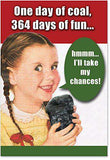 12 'One Day Of Coal Boxed Christmas' Hilarious Greeting Cards, Merry Xmas Cards with Funny Girl Getting Coal, Holiday Stationery for Presents, Parties, Season's Greetings