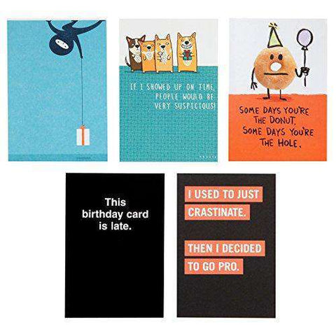 Hallmark Shoebox Funny Belated Birthday Card Assortment 5 Cards With Envelopes