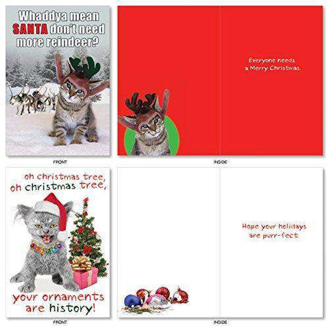 10 Assorted Petigreet Cats Christmas Boxed Funny Cat Christmas Car Unwelcome Greetings