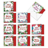10 Boxed & Assorted 'Wreath Greetings' Merry Christmas Cards - Funny Christmas Card - Free Shipping