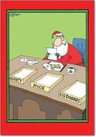 12 'Naughty Nice Big Donors' Boxed Christmas Cards with Envelopes, Hilarious Santa Claus Holiday Notes, Naughty Nice List Holiday Greeting Cards, Funny Christmas Stationery, Greeting Cards