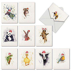 10 Animal Watercolor Christmas Cards - Assortment of Boxed Greeting Cards - Free Shipping