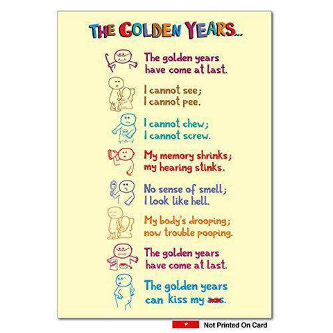 Golden Years Irreverent Birthday Card, Funny Birthday Card - Free Shipping
