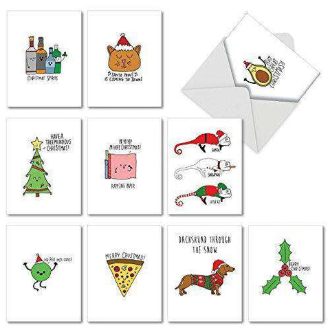 10 Assorted 'Fun Christmas Puns' Christmas Cards -  Season's Greetings Cards - Free Shipping