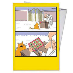 Nine Lives - Funny Birthday Greeting Card, with Envelope - Funny Note Cards - Free Shipping