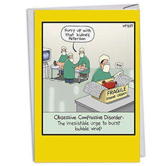 Obsessive Compression Disorder - Humor Birthday Card, with Envelope - Funny Greeting Cards - Free Shipping