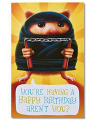 American Greetings Funny Hamster Ninja Birthday Card - Free Shipping