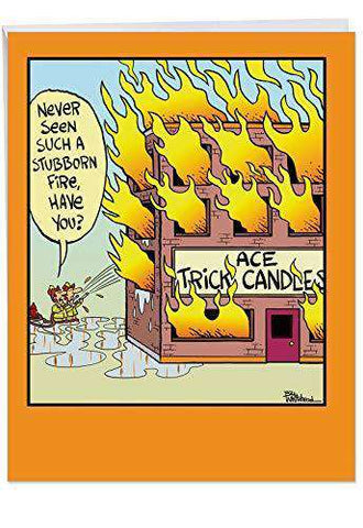 Funny Trick Candles Birthday Congratulations Card Firefighters
