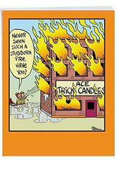 Funny 'Trick Candles Birthday' Congratulations Card - Firefighters Vs. Fake Flames from Trick Candles Birthday Card - Funny Birthday Card - Free Shipping