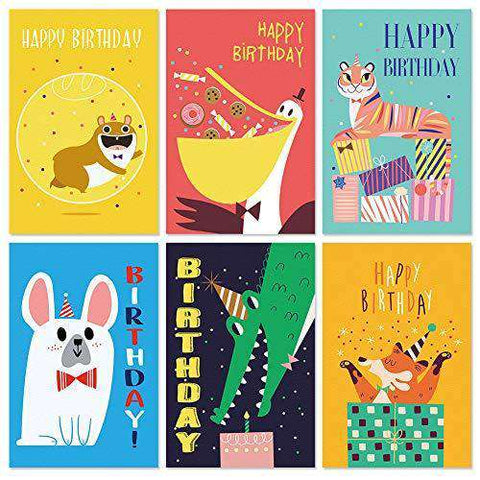 Birthday Cards, 36 Birthday Cards Assortment Animal Birthday Cute Cards for Friends, Funny Birthday Card - Free Shipping
