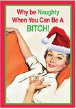 12 'Why Be Naughty' Boxed Christmas Cards with Envelopes, Funny Vintage-Inspired Christmas Cards, Hilarious Sassy Woman Holiday Notes, Adult Humor, Dirty Humor
