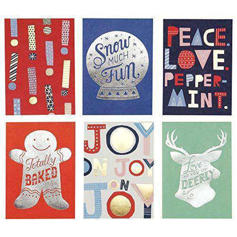 Hallmark Christmas Cards.Set Of 6 Hallmark Studio Ink Christmas Cards Assortment Foil Icons With 6 Different Funny Christmas Cards Free Shipping