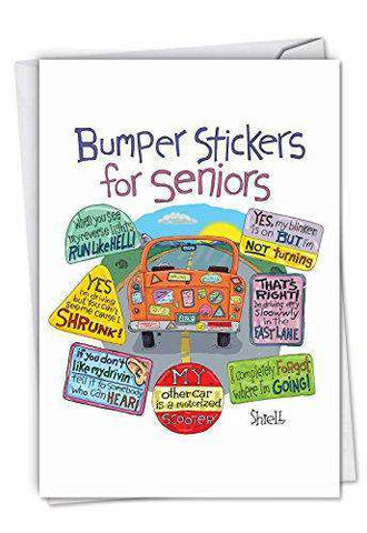Senior Bumper Stickers Funny Birthday Card Featuring Hilarious Sticke Unwelcome Greetings