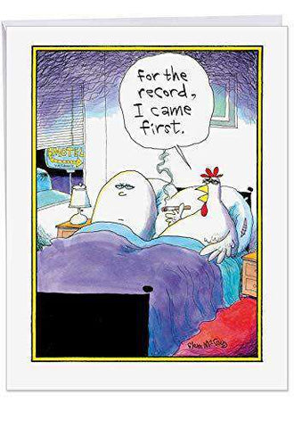 Big Funny Birthday Card - 'I Came First' Featuring Hilarious Chicken and Egg in Bed Joke - XL Happy Birthday Greetings Card, Funny Birthday Card - Free Shipping
