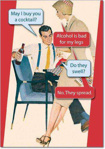 Bad For Legs Unique Humor Birthday Greeting Card, Funny Birthday Card - Free Shipping